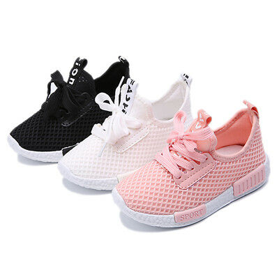 Children Sports Kids Shoes Boys Girls Running Trainers Athletic Lace Mesh Breath