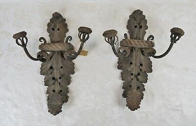 Pair Antique Black Forest Carved Wood Wrought Iron Wall Sconces Spanish Colonial