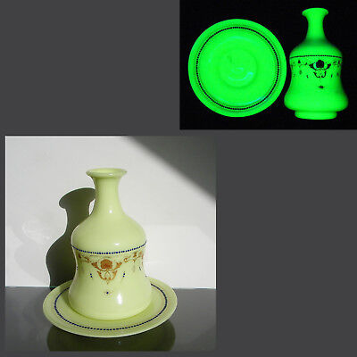 Antique French Opaline Yellow Milk Vaseline Glass Night Water Decanter Baccarat