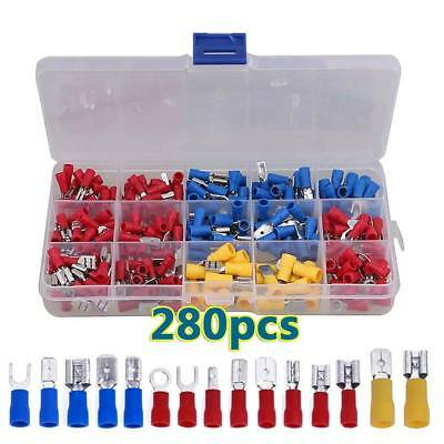 280PCS Electrical Terminals Crimp On Connector Spade Butt Ring Fork Tab Bullet