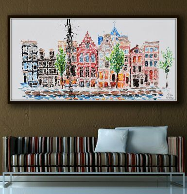 "55"" Netherlands Amsterdam Buildings, cityscape, thick layers, original pop art"