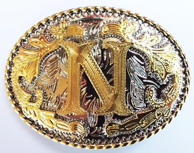 "Initial "" N ""  Rodeo Cowboy Letter Shine Gold Silver Western Belt Buckle"