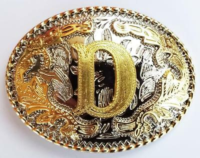 "Initial "" D ""  Rodeo Cowboy Letter Shine Gold Silver Western Belt Buckle"