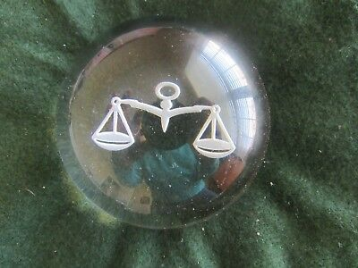 Scales of Justice domed paperweight clear with etched scales on base