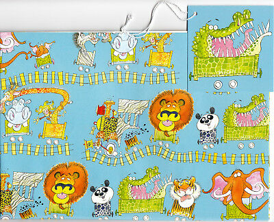 Wild Animals Gift Wrap Safari Zoo Jungle Train Wrapping Paper with Tag