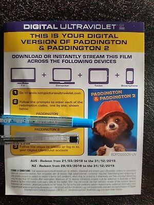 DIGITAL HD UV Codes ONLY- PADDINGTON 1 & 2 - BOTH MOVIES NO DISCs IN MAIL