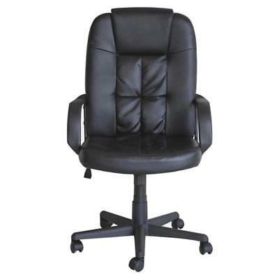 High Back Home Office Desk Computer Chair Black Pu Leather Height & Tilt (8745)