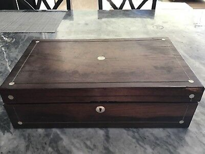 Antique  gun box mother of pearl inlay