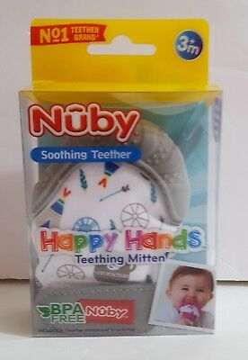 Nuby Soothing Teething Mitten with Hygienic Travel Bag Grey - New