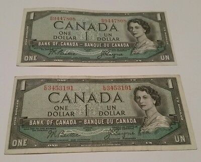 2 x Canada $1 Dollar 1954 Bank Currency Banknote Signatures of Beattie & Coyne