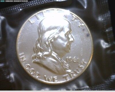 1961 Proof Silver Franklin Half Dollar In Mint Cello W Mint Mark #1957