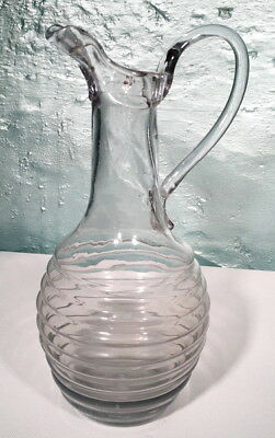 French Original LOUIS XV Hand Blown Ribbed CLARET WINE PITCHER 1770 Folded Spout