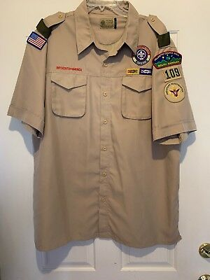 EUC! BSA Boy Scouts Of America Assistant Scoutmaster Shirt XL Patches Polyester