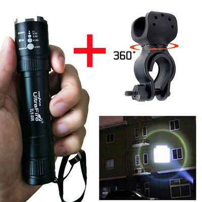 Ultrafire Flashlight 20000LM Zoom T6 LED 18650 Lamp Focus Light Torch+Mount clip