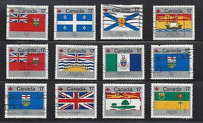 """Canada  1972  #  821 - 832 """" Provincial & Territorial Flags """"  Set of 12  Used"""