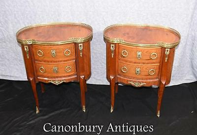 Pair French Empire Bedside Chests Nightstands Oval Topped