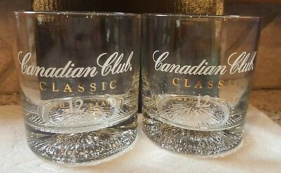 Set of 2 Canadian Club Whiskey Glasses Classic Aged 12 Years - Gold and White