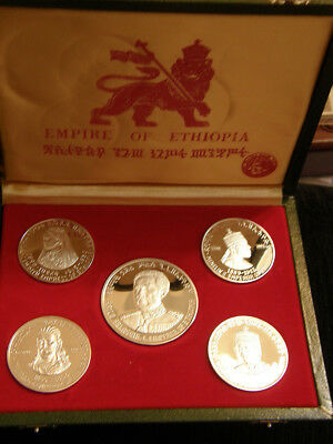 1972 Empire Of Ethiopia 5 Coins Silver Superb Proof Set In Original Mint Box.