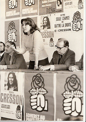 Photo originale Edith Cresson François Mitterrand 1975 Chatellerault PS