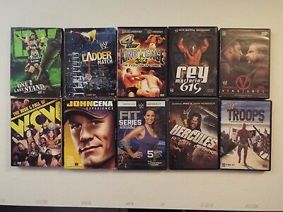 10-lot-DVD-WWE Fit Series-WCW-Workout-Hercules Reborn-John Cena-Ladder-Cage-rey*
