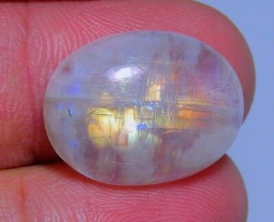 11 Ct Ring Size  Natural Blue Fire Rainbow Moonstone Oval Cabochon Gemstone B210