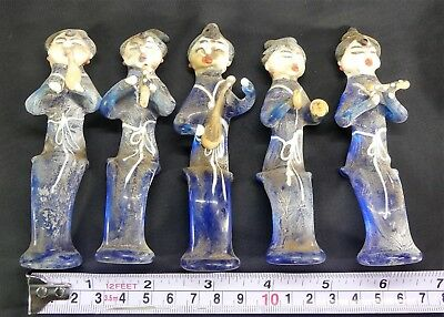 X-RARE Set of 5 Chinese Tang Dyn. Buddhist Translucent Blue Glass Musicians! WOW