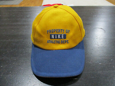 7bcb8e57f60 VINTAGE Nike Strap Back Hat Cap Yellow Blue Swoosh Spell Out Baseball Mens  90s
