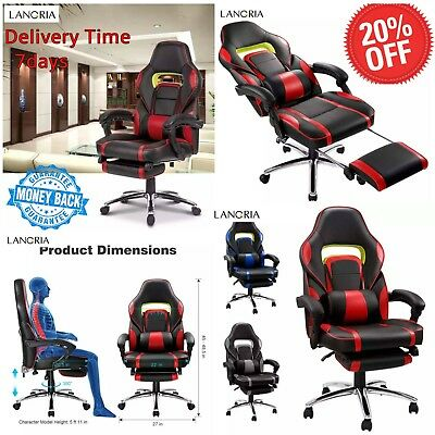 LANGRIA Adjustable Office Chair Ergonomic High-Back Faux Leather Racing Style Re
