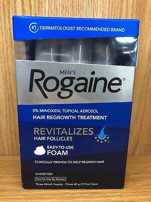 ROGAINE MENS 5% TOPICAL FOAM MINOXIDIL 3 Month Supply (3) CANS JAN 2020 NIB