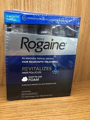 ROGAINE MENS 5% TOPICAL FOAM MINOXIDIL 4 Month Supply (4) CANS JAN 2020 NIB