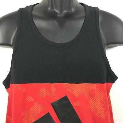 Adidas Ultimate Tee mens black and red graphic tank top size S