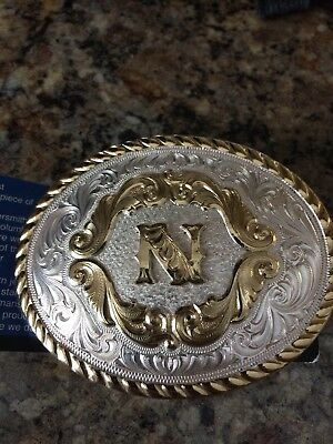 Small Oval Initial Buckle Letter N Montana Silversmiths  5000C with tags