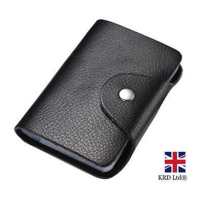 Soft BLACK PU LEATHER Credit Card Holder Pouch Purse Wallet RFID Holders New UK