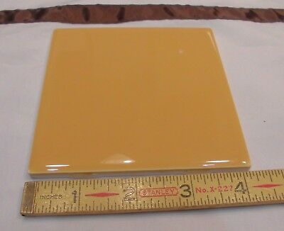 4 in Orange Mustard Ceramic Tile Mosaic Decocer Spain Vintage Gloss 6 Piece Lot