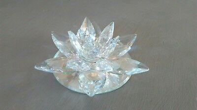 Crystal Cut Lotus Candle Holder Flower Rotating Ornament Clear Glass
