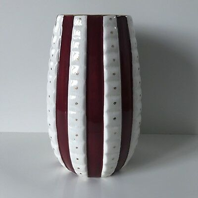 H J Wood Ltd Burselm English Pottery Vase Vintage Art Deco Red White Striped 50s