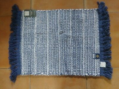 93816d292203 NWT by THRESHOLD Woven Stripe Blue   White Reversible Bath Rug 20