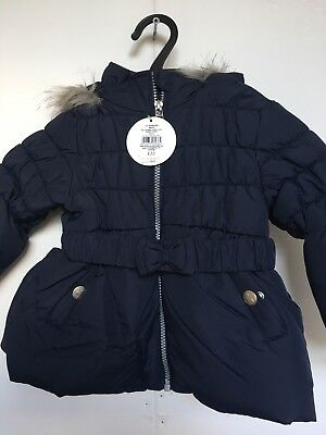 BNWT BHS Winter Coat. Hooded. Girls. Navy. Age 12-18 Months. Lined.