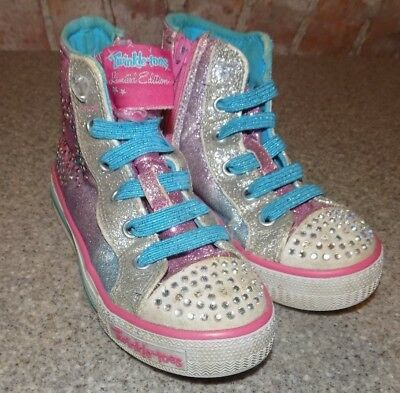 Skechers Size 11 Girls Twinkle Toes High Top Athletic Shoes