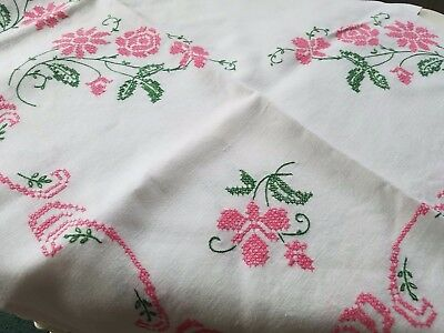 Vintage Hand Made Cross Stitched DESERT ROSE Linen Cotton Tablecloth ~ 48 x 50