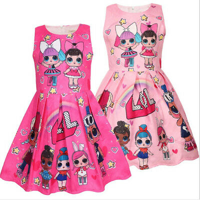 LOL Girls Princess Dress Surprise Doll Party Birthday Dress Costume Dress 3-8Yrs