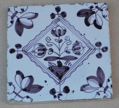 Antique Pictorial Delft Tile - Flowers