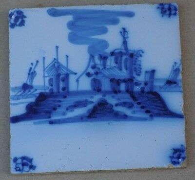 Antique Pictorial Delft Tile - Buildings