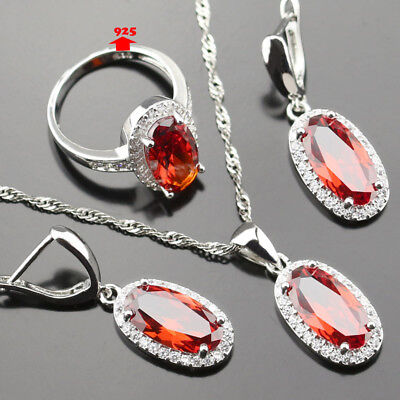 very pretty1.5*0.5 mm Red and WHITE TOPAZ 925 Silver Necklace Earrings Ring Set