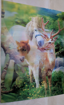 3D Lenticular Holographic Stereoscopic Photo Art 3 IMAGES Horses Deer Parrot