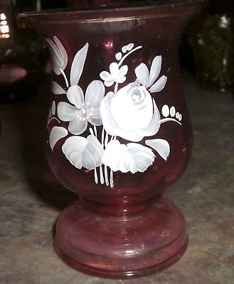Ruby Red Glass vase  painted  Bohemian Moser Czech  Slovakia pair