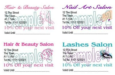 Hair Nail Beauty Lashes Mobile Customer Discount Cards  50 Personalised