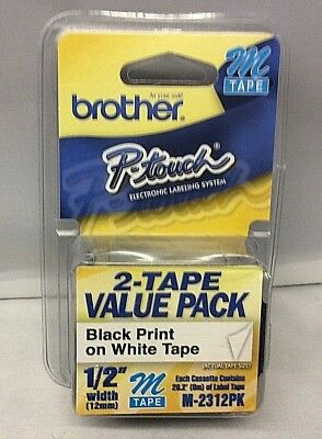 "2 pack Brother M231 P-Touch Label Tape Ptouch ORIGINAL NIB 1/2"" M-231 M-2312PK"