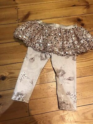 Kate Mack Gold Sequin Sparkly Skirt With Leggings Age 24 Months