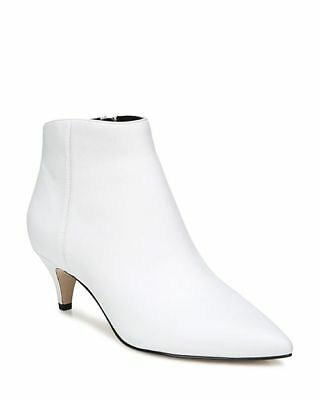 e3abea214 Sam Edelman Women s Kinzey White Leather Bootie Kitten Heel Ankle Boot Size  ...